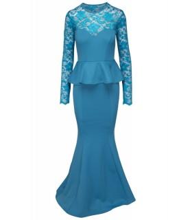 Goddess long peplum dress