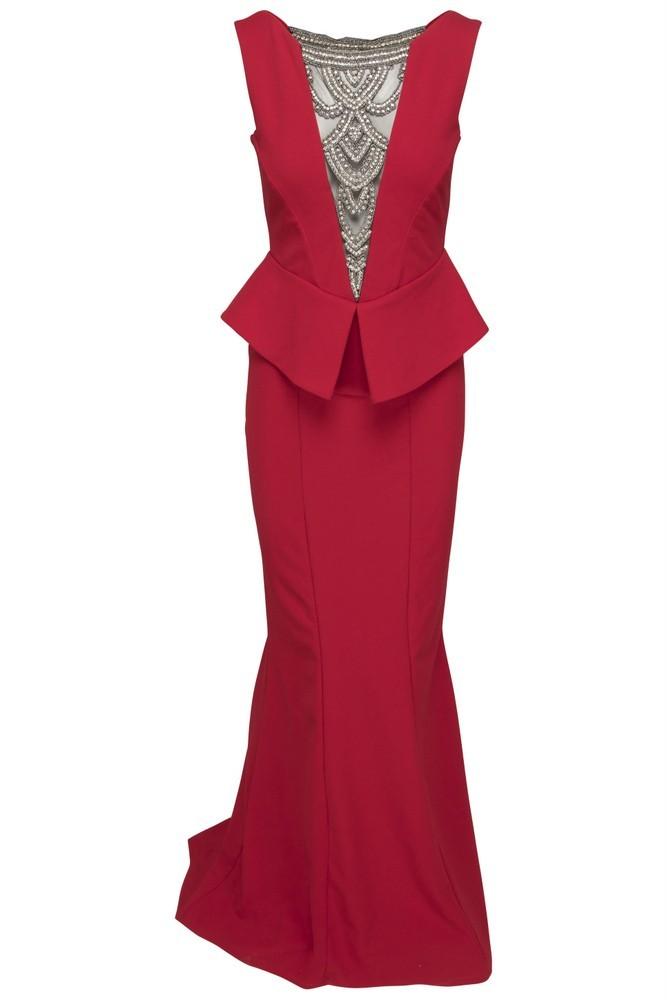 Goddess lang rød peplum kjole