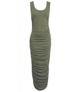 Missi - Lang olivenfarvet draperet kjole