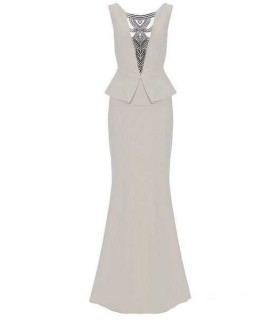 QUIZ - lang peplum kjole beige