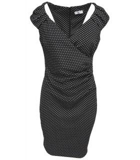 Goddess sort midi kjole med prikker