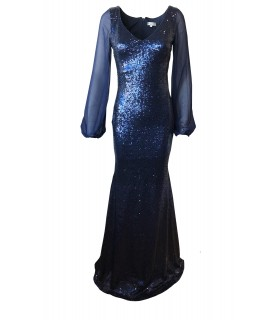 Goddess navy paillet kjole med ærmer