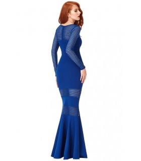 Goddess blue long-sleeved dress with transparent stripes