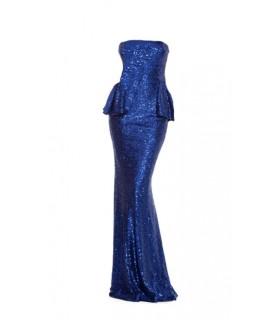 Goddess long blue sequin peplum dress