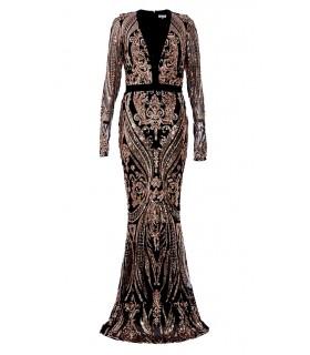 Goddess black and rose gold sequin dress