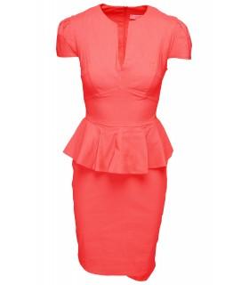 Goddess coral peplum dress