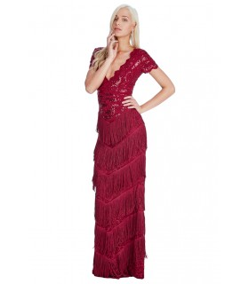 Goddess wine red charleston gatsby dress