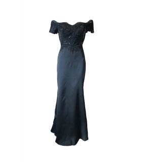Göttin schwarze offshoulder Kleid mit Stickerei