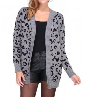 Lucene mørk grå leopard cardigan