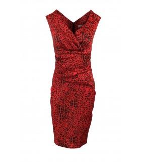 Goddess red lepard midi dress