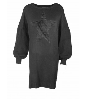 Paris Fashion oversize knit with star black