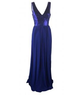 Goddess navy blå maxi kjole med pailletoverdel