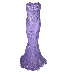 Goddess long lavender corsagekjole with embroidery