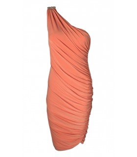 Goddess orange midi oneshoulder kjole