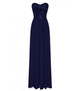 Goddess chiffon navy blå corsage kjole