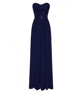 Goddess chiffon navy blue corsage dress