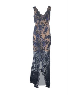 Goddess nude dress with blue pattern