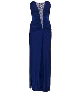 Goddess blue strapless dress with diamonds