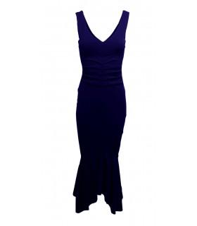 Goddess navy blue asymmetrical midikjole