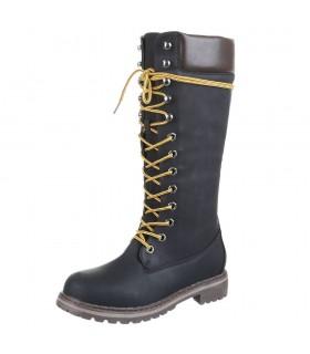 Lange sorte støvler med snørre