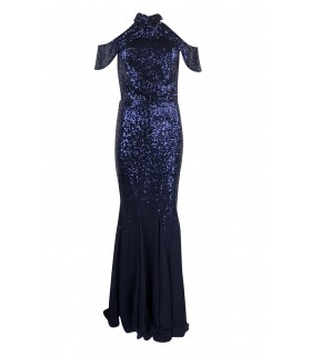 Goddess navy sequin and chiffonkjole
