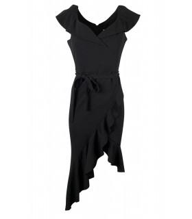 Goddess black asymmetrical dress with ruffle