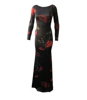 Goddess sort kjole med blomster