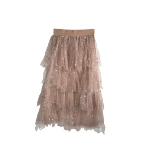 Lucy Wang beige tulle bohemian skirt with stars
