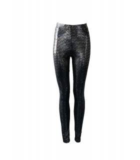 Lucy Wang black leggins with silver