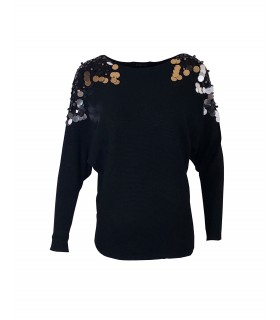 Paris Fashion Voyelles sort bluse med pailletter