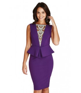 Goddess purple midi peplum dress