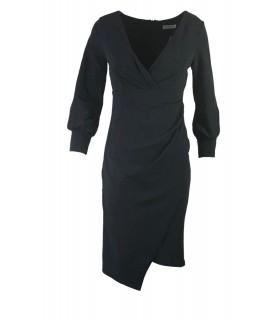 Goddess black midi dress with sleeves