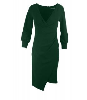 Goddess flaskegrøn midi kjole med ærmer