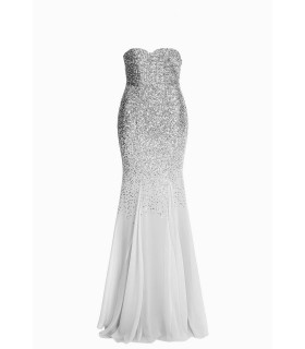 Goddess silver chiffon corsage dress