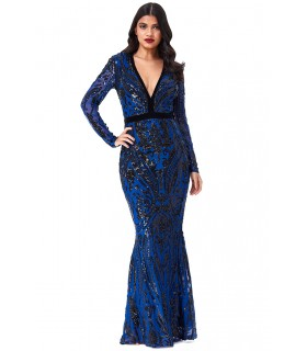 Goddess black and royal blue dress with sleeves
