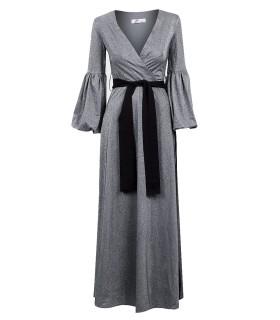 Actuel sølvgrå lang kjole