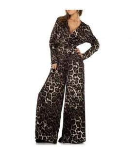 Paris Fashion JCL buksedragt i gråbrun leopard