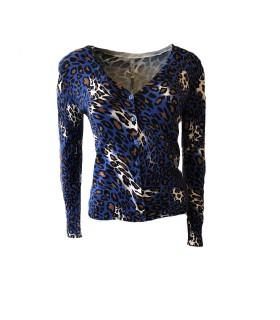 Paris Fashion C. M. P 55 blau leopard Strickjacke