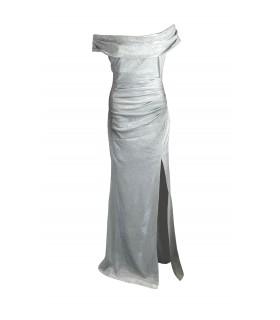 Goddiva silver offshoulder dress