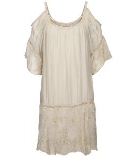 Luxstore sand-colored cold shoulder silk dress