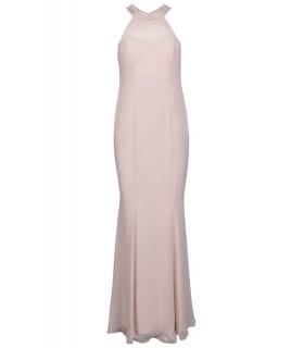 Goddess long pink prom dress