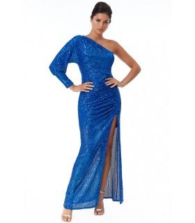 Goddiva blå oneshoulder kjole