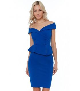 Goddess blå cocktailkjole med knap