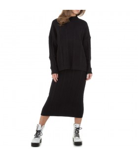 JCL sort sæt med midi nederdel