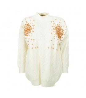 Shako White Icy hvid sweater med kobber perler