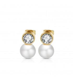 Aqua Dulce Ørering med krystal og perle guld