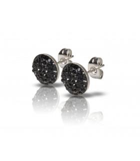 Luxstore lille flad krystal stålørestik sort