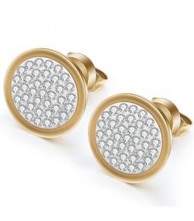 Aqua Dulce rund ørestik med små krystaller sølv