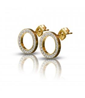 Luxstore små runde ståløreringe med krystaller guld