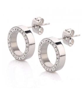 Luxstore små runde ståløreringe med krystaller sølv